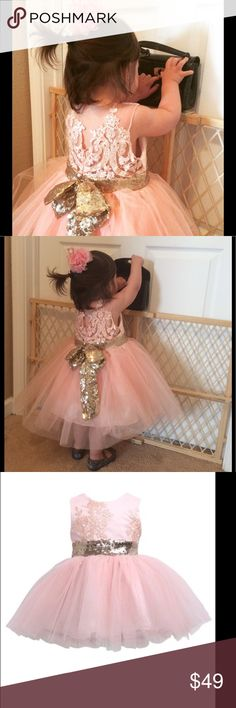 4T Gorgeous Birthday Tutu Wedding Party Lace Dress Brand new. Peachy pink color. Dresses Formal