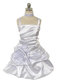 Flower Girl Dress Style 213- Satin Party Style Dress with Pick Up Skirt