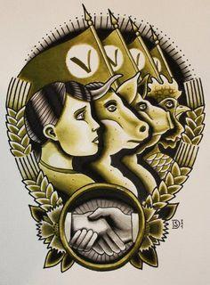 Sebastian Domaschke. Vegan tattoo. USSR propaganda inspired.