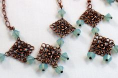 Swarovski Chrysolite Opal Bead Copper by RoseCottageVintage, $29.99