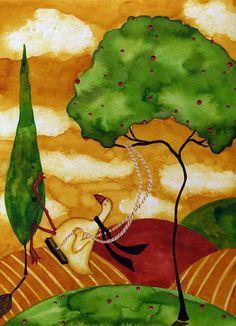 Hubbs Children Art Folk Prints Farm Animals Goose Swing