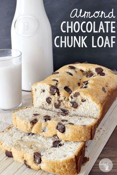 Almond Chocolate Chip Cake Loaf is a moist and easy dessert to make. This recipe requires buttermilk, but I've created a substitute using ingredients you most likely already have lying around. || via diybudgetgirl.com #almond #chocolate #chip #loaf #cake #baking #buttermilk #substitute