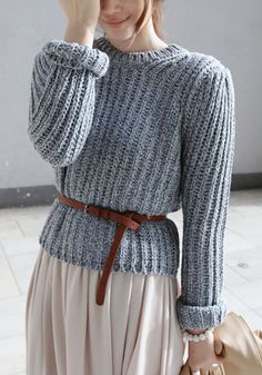 Chunky Knit Sweater + Belt.