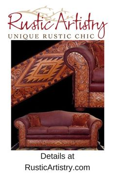 """Tucson Sofa - The expression """"functional art"""" may have been coined with this exquisite sofa in mind. Meticulous tooling on the arms and kick plate, nail head trim, and fringe embellishments on the sides combined with full grain leather and extra sturdy construction result in a sofa that is a delight to both see and sit upon. https://rusticartistry.com/product/tucson-sofa/ #rustic #rusticdecor #cabin #cabindecor #western #westerndecor #furniture #custom #handcrafted"""