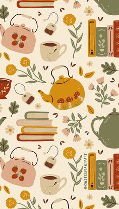 Flowery Books and Tea custom fabric by ohjessmarie for sale on Spoonflower Book Wallpaper, Live Wallpaper Iphone, Pattern Wallpaper, Fabric Wallpaper, Screen Wallpaper, Wallpaper Quotes, Cool Wallpapers For Phones, Cute Wallpapers, Gouache