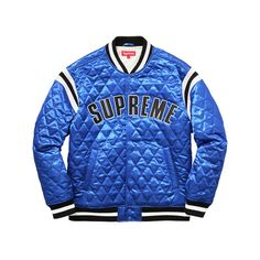 Supreme Quilted Satin Varsity Jacket ($218) ❤ liked on Polyvore featuring outerwear, jackets, blue letterman jacket, varsity-style bomber jacket, blue varsity jacket, quilted jacket and satin jackets