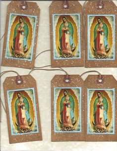 12 PRIMITIVE TAGS     La Virgen de Guadalupe     Hang Tags    folk   Grungy. $3.99, via Etsy.