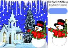 Church with snowman and christmas tree 8x8 on Craftsuprint - Add To Basket!