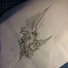 «Dessin du soir et fortement tatouable #sketch #esquisse #trash #graphique #bird #oiseau #volauventdefoiedegenisse»