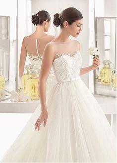 d41f05613d56 Gorgeous Tulle Sheer Bateau Neckline A-Line Wedding Dress With Beadings    Belt Abiti Da