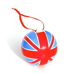 Union Jack Christmas Bauble Decoration, Hand Painted Porcelain Red White And Blue British Christmas Ornament. £12.00, by Free Spirit Designs On Etsy.