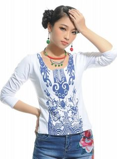 Chinese Style Printing Long Sleeve T-Shirt White-- Click on the picture to order it>>Shop price:US$8.85---#shoes #wholesale #fashion #lovely #cheap #Korean #dress #sexy #clothes#