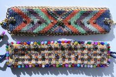 Cuff Bracelet Cross Stitch Embroidered by BlackCatCreativeStd