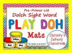 This set of mats feature sight words from the Dolch Pre-Primer List.  Simply copy onto cardstock and laminate before using.Christy's Cutesy Classroom