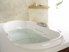 Amma is a collection of ergonomic baths which offers superior comfort and an enhanced hydro-thermo massage experience. The perfect centerpiece of your own private luxury spa bathroom. Luxury Bathtub, Luxury Spa, Luxury Bathrooms, Drop In Bathtub, Bathroom Spa, Corner Bathtub, Bathtubs, Alcove, Shower Ideas