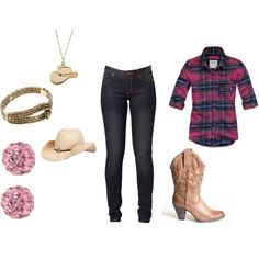 cow girl style, created by volleyballchic-7888 on Polyvore  diff boots def!