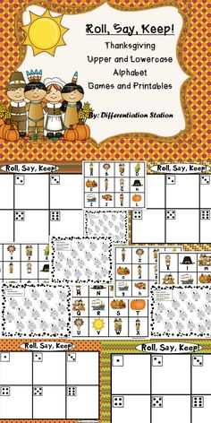 This is a Thanksgiving themed center, game and printables. It includes: pilgrims, Native Americans, turkeys, corn, cornucopia, the Mayflower. This is a game that can be used in a center or small group setting. It is appropriate for advanced preschoolers, kindergarten, special education instruction, or for any student that needs extra practice in learning their upper and lowercase letters.