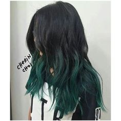 Best Hair Dyed Dark Black 61 Ideas Best Hair Dyed Dark Black 61 Ideas - Unique World Of Hairs Green Hair Ombre, Black And Green Hair, Blonde Ombre Hair, Brown Ombre Hair, Brown Hair With Highlights, Hair Color For Black Hair, Ombre Hair Color, Brown Hair Colors, Blonde Highlights