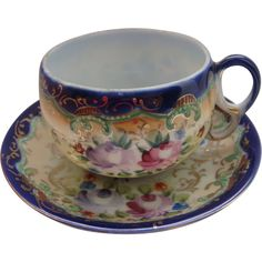 Royal Nippon Cobalt Cup Saucer Roses Asters Hand Painted ❤ liked on Polyvore featuring home and kitchen & dining