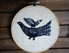Blue bird embroidery hoop Hand embroidered hoop Gray wall