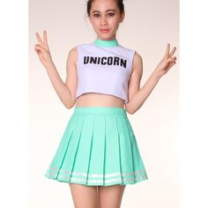 Made To Order Unicorn Cheerleading Style Crop Top (78 AUD) ❤ liked on Polyvore featuring tops, unicorn crop top, unicorn top, high neck crop top, crop top and high neck top