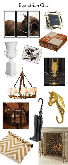 Equestrian Chic decor...would be easy to make the white urn, do them in white lacquer...pattern on screen would make a great floor cloth/wall hanging