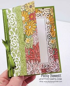 Fun Fold Card featuring Stampin\' Up! Ornate Garden Suite and Ornate Border dies. by Patty Bennett www.PattyStamps.com