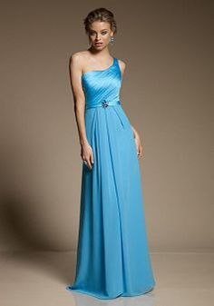 Flowing One Shoulder A line Floor Length Satin Bridesmaid Dresses - 1300252033B - US$95.79 - BellasDress