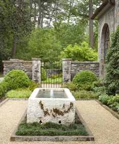 Garden, GroundsHoward Design Studio | Dering Hall Design Connect In partnership with Elle Decor, House Beautiful and Veranda. Garden Pond, Garden Fountains, Garden Gates, Garden Landscaping, Outdoor Water Features, Classic Garden, Garden Architecture, Outdoor Gardens, Formal Gardens