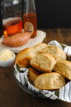 Spiced Sweet Potato Rolls with Bourbon Honey Butter - Perfect for the holidays!   foxeslovelemons.com