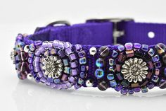 Bling for your puppy. Beaded Dog Collar, Color Of The Year, Flower Shape, Shades Of Purple, Pet Accessories, Dog Lover Gifts, Ultra Violet, Bling, Unique Jewelry