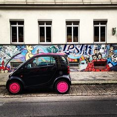 Instagram photo by @ebensdorf #smartcar #graffiti #berlin #fortwo #streetart #tuning #pink