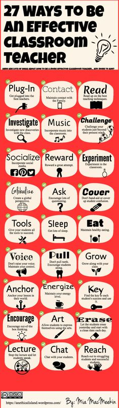 Educational infographic : 27 Ways to be an effective classroom teacher. Posting some education infographics by the amazing Mia Mac Meekin to celebrate Teacher Appreci Flipped Classroom, School Classroom, School Teacher, Future Classroom, Classroom Ideas, Student Teacher, Teacher Tools, Teacher Hacks, Teacher Resources