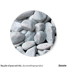 #Big pile of #gray and white stones from the #beach classic round# sticker $9.80 per sheet of 20