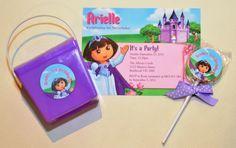 Dora personalised invitation, noodle box and lollipop.