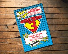 Child Birthday Invitation - Superhero Party Comic  we could even wear our superhero costumes from Halloween.  Gavon practically lives Batman