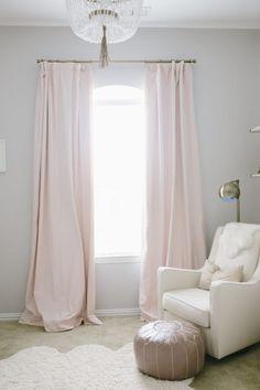 Petal Pink Drapes in a Baby Girl Nursery - loving this simple, yet glam look! Baby Bedroom, Nursery Room, Girls Bedroom, Master Bedroom, Trendy Bedroom, Pink And Gray Nursery, Floral Nursery, Light Pink Nursery Walls, Blush Nursery