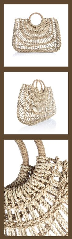Beige Natural Bag - natural open weave straw shopper with woven carry handles - Zimmermann #beach_bags