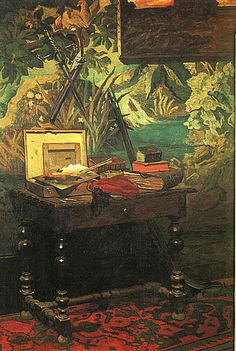 """""""A corner of the studio"""" by Claude Monet (1861). I love when artists paint images of their personal environments, I especially love it when they share glimpses of where they paint. This look into Monet's home studio is so perfect. While I love this work as a whole as an interior designer I find myself most attracted to that fabulous wallpaper."""
