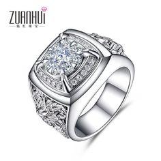 New Design Arrived 18 K White Gold Diamond Ring Luxury Men Popular in Dragon Diamond Ring Power Domineering Men Ring
