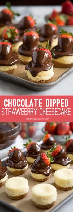 How do you make chocolate dipped strawberries better? Attach it to a cheesecake, of course! This strawberry cheesecake is sure to win over any Valentine! Yield: makes 18 mini cheesecakes. Valentine's Day Desserts Mini Desserts, Valentine Desserts, Brownie Desserts, Just Desserts, Delicious Desserts, Dessert Recipes, Yummy Food, Cheesecake Desserts, Small Desserts