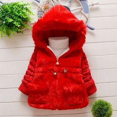 Girls Fur Coat Clothing With Lace Flower Autumn Winter Wear Clothes Baby Children Faux Fur Dress Dresses Style Jacket