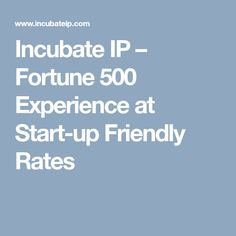 Incubate IP – Fortune 500 Experience at Start-up Friendly Rates