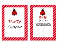 dirty diaper sweet mess, Ladybug Theme Baby Shower Games