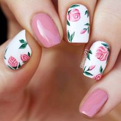 you should stay updated with latest nail art designs, nail colors, acrylic nails… – Beauty ideas Pink Nail Designs, Nail Designs Spring, Nails Design, Rose Nail Design, Nail Art Rose, Flower Nail Designs, Nails With Flower Design, Nails Rose, Tropical Nail Designs