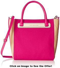 Tommy Hilfiger Harper Small Conv Travel Tote, Raspberry/Sand, One Size