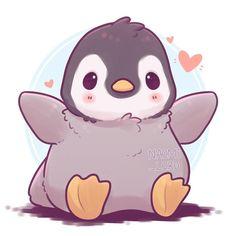 Little fluffy penguin wants to hug you cute kawaii animals, cute cartoon animals, cute Art Kawaii, Kawaii Pens, Cute Kawaii Drawings, Kawaii Chibi, Chibi Cat, Cute Chibi, Cute Kawaii Animals, Cute Cartoon Animals, Anime Animals