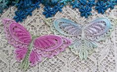 Butterfly Lace Hand Dyed Venise Lace by RavioleeDreams on Etsy, $4.50