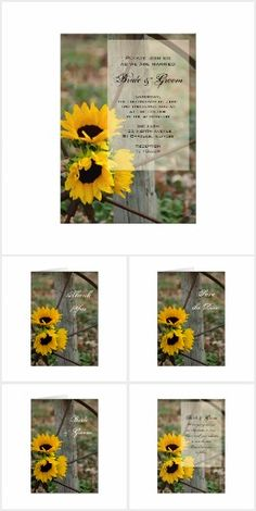 Rustic Country Sunflowers WEDDING SET COLLECTION   Wagon Wheel Floral Flowers Yellow Sunflower Pretty Personalized Wedding Stationery Invites Announcements Invitations RSVP Thank You Cards & More!