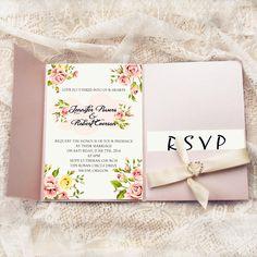 inexpensive spring pink flower heart rhinestone pocket wedding invites EWPI175 as low as $2.29
